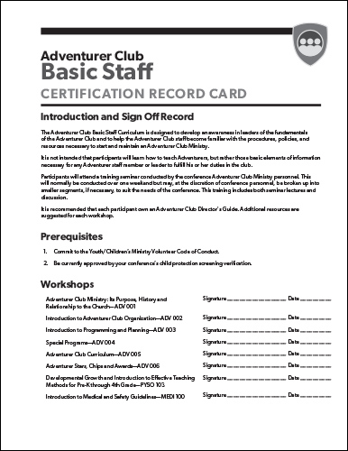 Basic Staff Workshop Sign-off Page